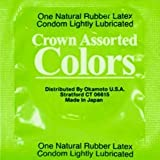 Crown Assorted Colors with Silver Lunamax Pocket Case, Colored Ultra Thin Latex Condoms-24 Count