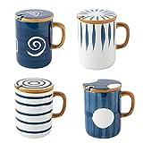 ZZRR Taza de café Creativa de Cuatro Piezas con Tapa y Cuchara, Taza de cerámica de 13.5 oz, Adecuada para Agua Potable Diaria y café con Leche, se Puede Usar en microondas, lavavajillas, Horno