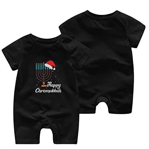 BAIJEN Happy Chrismukkah Hanukkah Jewish Festival Baby Short Sleeve Jumpsuit Comfortable and Fashionable Cotton Black
