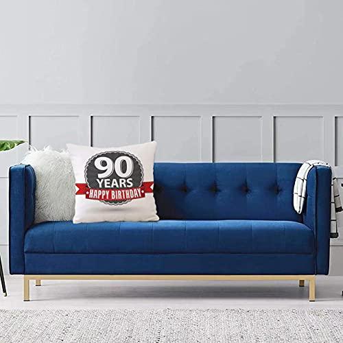 Set de 1 x Funda de Almohada 45x45 cm,Decoraciones de 90 cumpleaños, Etiqueta Retro con Cinta roja, Emblema Vintage, Estrellas clásicasFundas de Cojines de Calidad con una Suavidad Incomparable