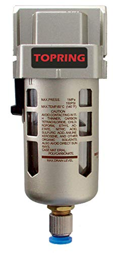 TOPRING Airflo 300 3/8' Water & Particulate Air Compressor Filter with semi-Automatic Drain and mounting Bracket