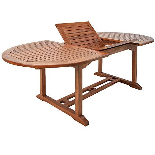 Deuba Mesa de Madera de eucalipto 'VANAMO' con Certificado FSC® Extensible Plegable con Soporte para sombrillas jardín