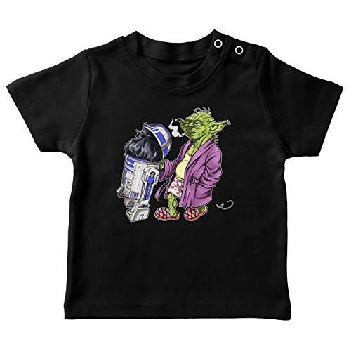 T-Shirt bébé Noir Parodie Star Wars - R2-D2 et Yoda - Le Maître en Week-End. (T-Shirt de qualité Premium de Taille 12 Mois - imprimé en France)