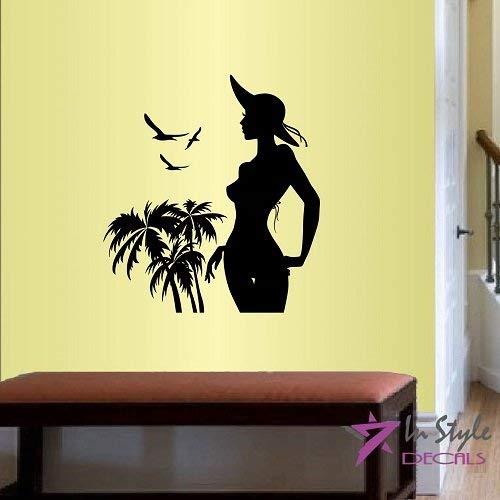 Lplpol muur Vinyl Decal Home Decor Art Sticker Mooie Meisje Model in Bikini Beach Palm Bomen Mode Stijl Kamer Verwijderbare Stijlvolle Mural Uniek Ontwerp