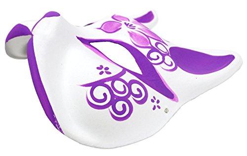 『StyleCoS 狐面 狐 お面 半面 マスク コスプレ ハンドメイド 紙パルプ製 和風色彩 (紫色)』の1枚目の画像