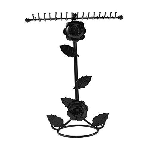 TOOGOO Metal Rose Flower Jewelry Stand Pendiente Colgador Collar Pulsera Organizador Almacenamiento Pantalla Reloj Show, Negro