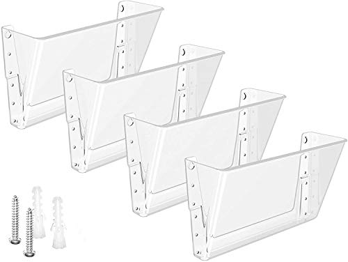 MaxGear Acrylic File Holder Wall Organizer 4 Pockets Hanging File Organizers Wall Mounted Paper Organizer Holders Wall Bins for Office and Home, Clear, 13x4x7 inches
