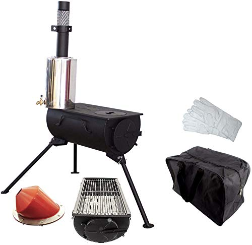 NJ Comfort Portable Wood Burning Stove Grill BBQ Camping Tent Heater Firepit + 3L Water Heater