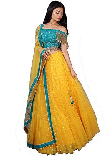 4Fashion Women's Satin Semi-stitched Lehenga Choli (LiimBudi Yellow_Yellow_Free Size)