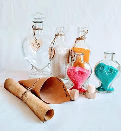 Kit set rito della sabbia colorata matrimonio famiglia, set 3 vasi bottiglia, 2 vasi cuore piccoli, stampa rito, 3 cuori per iniziali, un cono, sabbia colorata a scelta.