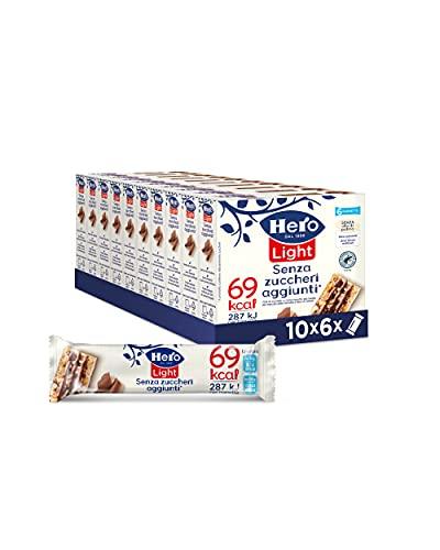 Hero Light barrette ai cereali e cioccolato, 10 confezioni da 6 barrette X 20 gr, senza olio di...