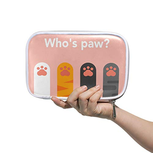 WXLIFE Cute Animal Cat Paw Print Multi-Functional Zippered Cosmetic Bags Travel Pouch Bag Makeup Passport Holder Storage Pencil Case Pen Bag for Kids Boy Girls School