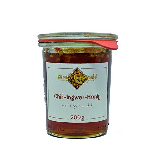 Streuobstwiesle Chili Ingwer Honig - 200 g Naturreine handgefertigte Honigspezialität aus Deutschland zum Marinieren von Grillfleisch, Geflügel, zum Überbacken von Käse oder zum Aufschlagen feiner Salatsaucen