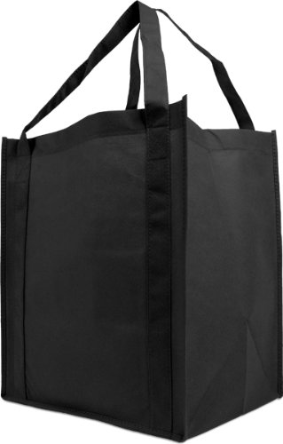 Reusable Reinforced Handle Grocery Tote Bag Large 10 Pack (Black)