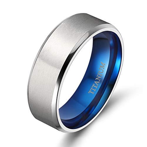 TIGRADE Titanium Rings 4MM 6MM 8MM 10MM Wedding Band in Comfort Fit Matte for Men Women (Blue 8mm, 14.5)