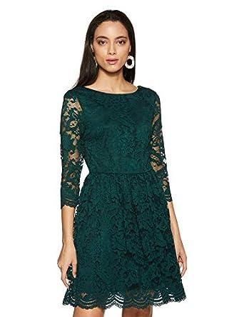 VERO MODA Women's Synthetic A-Line Knee-Length Dress