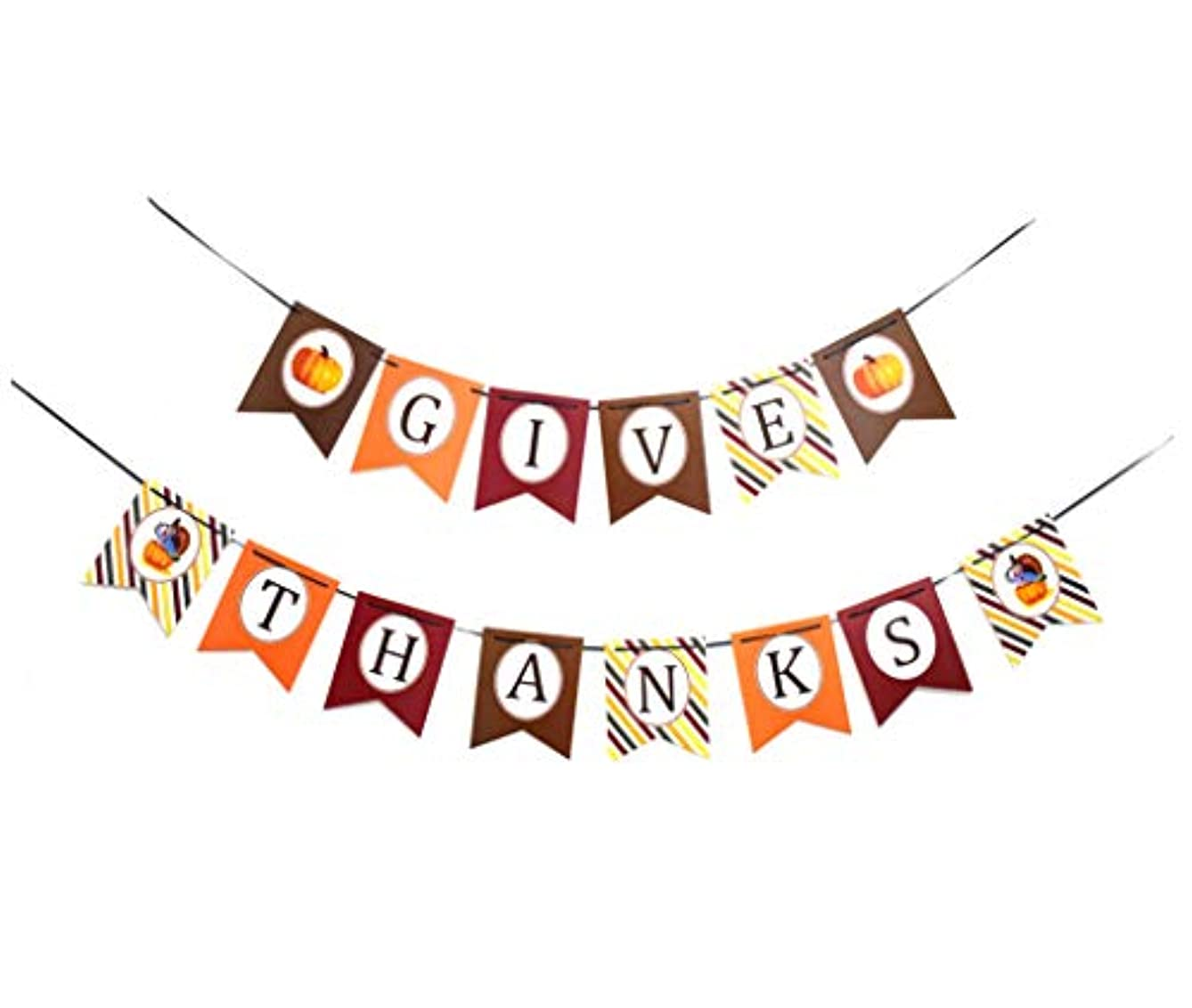 JUSLINK Thanksgiving Decorations, Paper GIVE Thanks Banner for Party Home Decoration