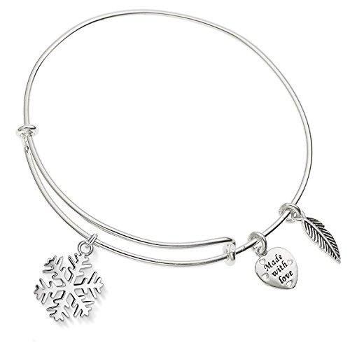 Enni of York Holiday Snowflake Charm Silver-Tone Expandable Bangle Bracelet