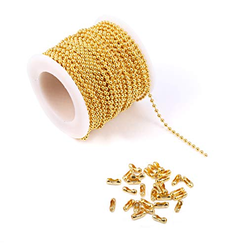 48 Feet 18K Gold Plated Ball Chains with Connectors Clasps Ball Beads Chain for DIY Necklace or Bracelet