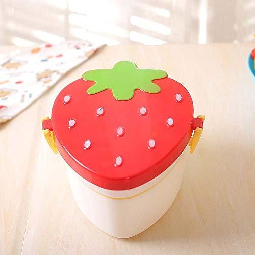 Haninj 500 ml Lunchbox Erdbeermais Stil Gesunde Kunststoff Bento Box Für Kinder Tragbare Picknick Schule Lunchbox Lebensmittelbehälter 2 Schicht-Rosa Erdbeerbox_2
