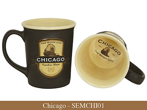 Americaware Chicago Emblem 18oz Ceramic Coffee Tea Mug Cup 5 Inches Long By 4.75 Inches Tall By 4 Inches in Diameter.