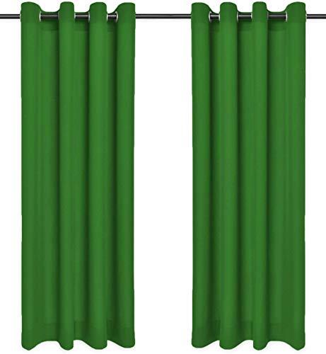 Rollmayer Sonnenblenden und Sichtschutz mit Ösen, blickdicht, dekorativ, Schlafzimmer, Kinderzimmer, Kollektion Vivid, 2 Stück, Polyester, #Vivid 25 grün, 135x240 cm (LxH)