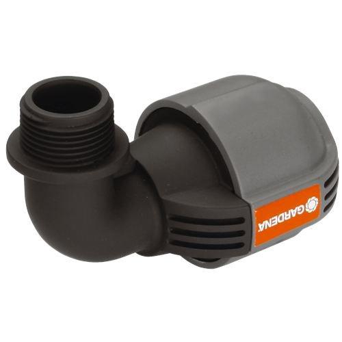 Gardena Sprinklersystem L-Stück mit Außengewinde: Anschlussstück für Versenkregner am Rohrende, 25 mm x 3/4 Zoll, Quick&Easy Verbindung, selbstdichtende Gewindeverbindung (2781-20)