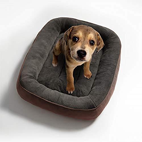 Bedsure Cama para Perros Pequeños Lavable M - Colchon Perro Cómoda de Felpa Muy Suave - Sofá de Perro 81x58cm,Marrón