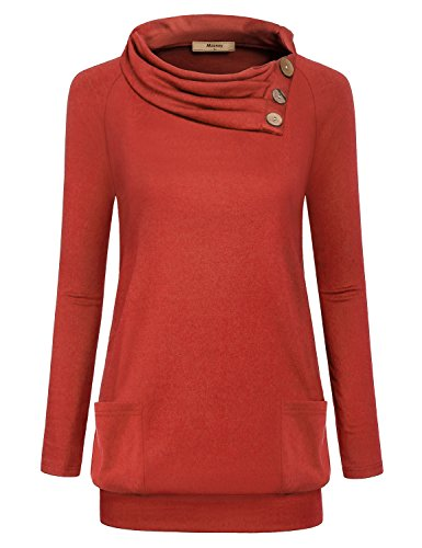 Miusey Collared Shirt for Women, Juniors Raglan Long Sleeve Tshirt Plain Mom Plus Size Tops Cute Best Friend Unisex Cozy Soft Sweatshirt Knit Pleat Pocket Tunic Blouse Winter with Banded Orange Red L