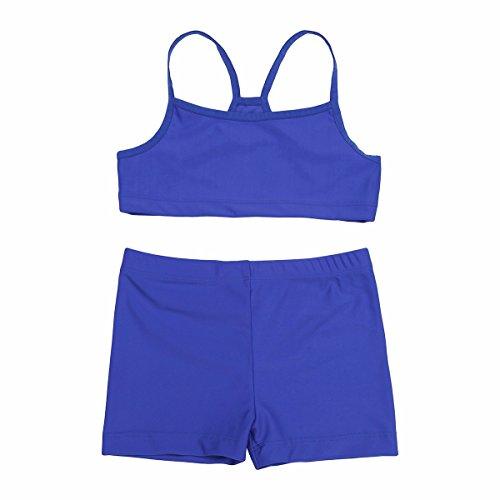 iiniim Mädchen Bade Set Zweiteiler Bikini Tops mit Badehose Tankini Bikini Bademode Set Schwimmanzug Badebekleidung Gr.104-152 Blau 104-110