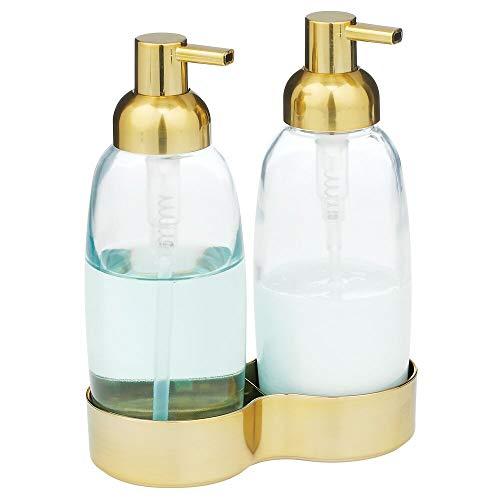 mDesign Doppel-Seifenspender – herausnehmbarer Pumpseifenspender aus Glas und Edelstahl für Bad und Küche – wiederbefüllbarer Lotionspender für Seife und Handcreme – durchsichtig und messingfarben