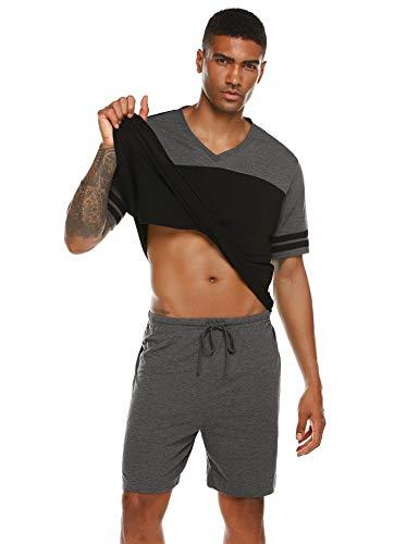 Pyjama Herren Kurz Schlafanzug Shorty V-Ausschnitt Zweiteiliger Freizeit Schlafanzughose Nachtwäsche Set für Sommer Schwarz M