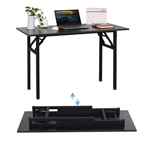 jeffordoutlet Escritorio plegable para ordenador portátil, 100 x 50 cm, color negro, mesa de estudio para espacio...