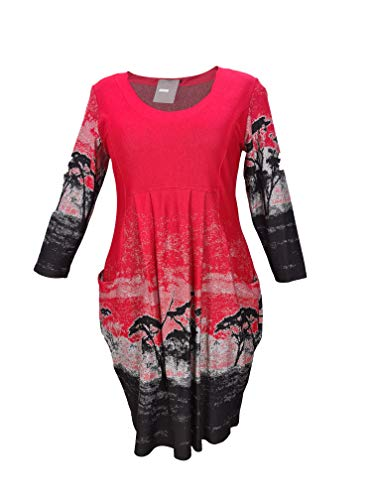 Vestido de fiesta de línea A, cuello en U, holgado, informal, manga larga, blusa rojo XXL