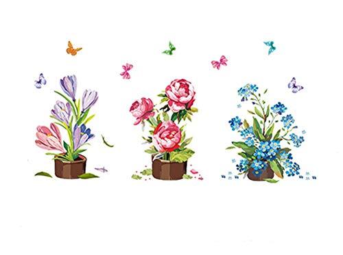 Meeoy huis keuken kunst decoratie zelfklevende bloemen en planten tuin bloemen van glas venster in vaas
