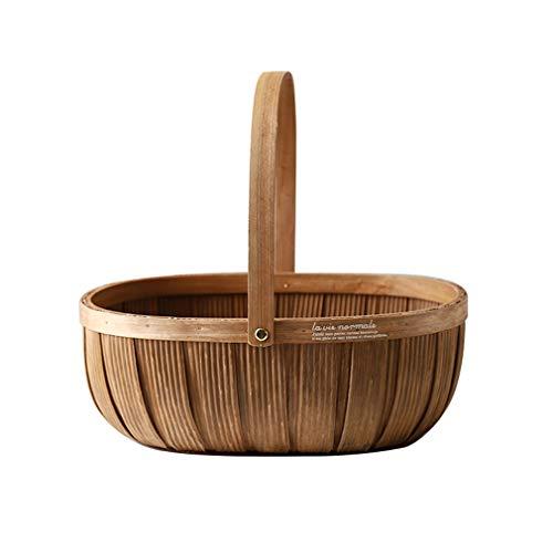 Cesta de mimbre portátil de abeto chino para frutas, cesta de picnic al aire libre, cesta de almacenamiento para exhibir alimentos y verduras, cesta para servir comestibles