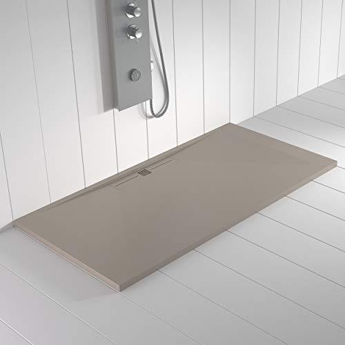 Shower Online Plato de ducha Resina WIDE - 70x120 - Textura Pizarra - Antideslizante - Todas las medidas disponibles - Incluye Rejilla Color Arena y Sifón - Arena S 3005 Y 50R