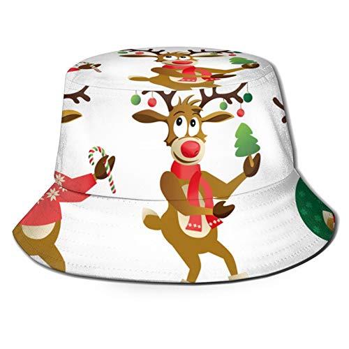 TTLUCKY Fishing Hat,Cute Funny Christmas Reindeers Cartoon Vector,Hiking Boonie Safari Sun Caps Traveling for Men&Women for Outdoor Gardening