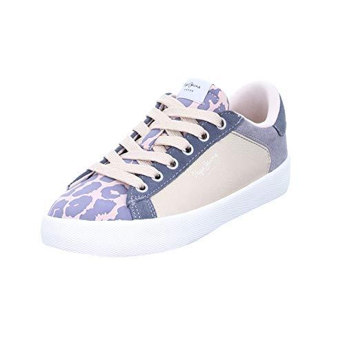 Pepe Jeans Damen Sneaker Kioto Kenia Schnürer mit Lederdecksohle in Rose Glitzer-Grau (312 Petal) Größe 39 EU