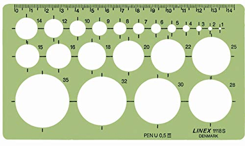 Linex 100413075 1118S Pochoir circulaire avec picots pour cercles de 1 à 35 mm de diamètre Transparent 160 x 90 mm