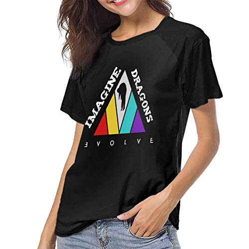 fenglinghua Camisetas para Mujeres Women's T Shirts Imagine-The Dragons-Evolve Raglan Shirt Short Sleeve Baseball tee Unique Design Top
