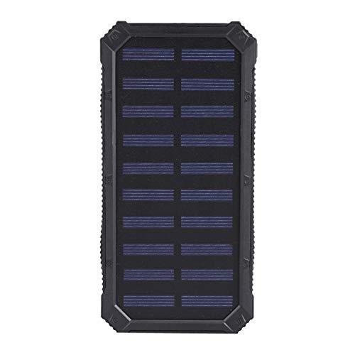 FEBT Cargador de batería Solar con luz de Emergencia Banco de energía portátil, Cargador USB Dual Senderismo y Vocación para Viajes al Aire Libre(Black)