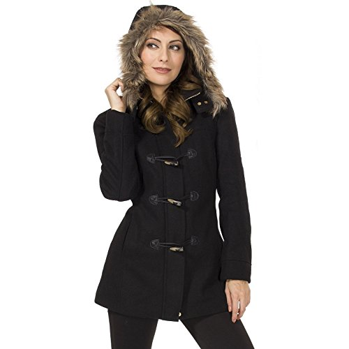 Alpine Swiss Duffy Womens Black Wool Coat Fur Trim Hooded Parka Jacket Medium