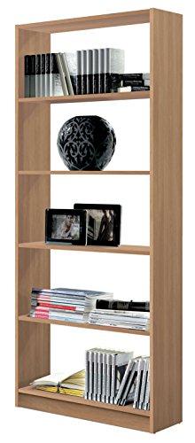 Estantería librería Biblioteca Abierta Color Roble, 5 estantes y molduras Decorativas para Oficina, despacho o Estudio. 180cm Altura x 74cm Ancho x 25cm Fondo