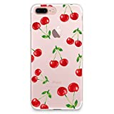 CasesByLorraine iPhone 8 Plus Case, iPhone 7 Plus Case, Cherry Pattern Clear Transparent Case Flexible TPU Soft Gel Protective Cover for Apple iPhone 7 Plus & iPhone 8 Plus (P88)