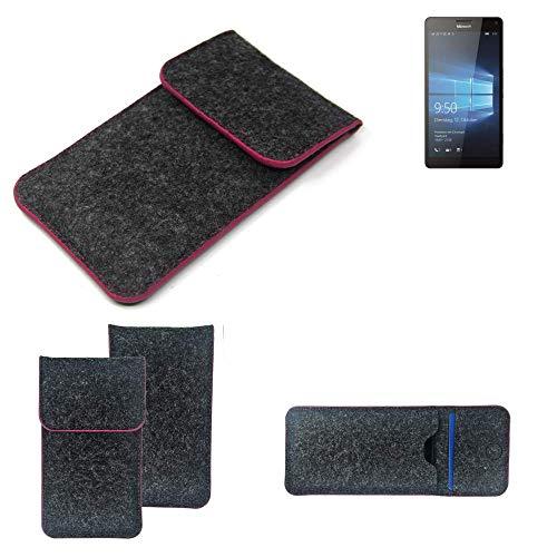 K-S-Trade Filz Schutz Hülle Für Microsoft Lumia 950 XL Dual SIM Schutzhülle Filztasche Pouch Tasche Hülle Sleeve Handyhülle Filzhülle Dunkelgrau Rosa Rand