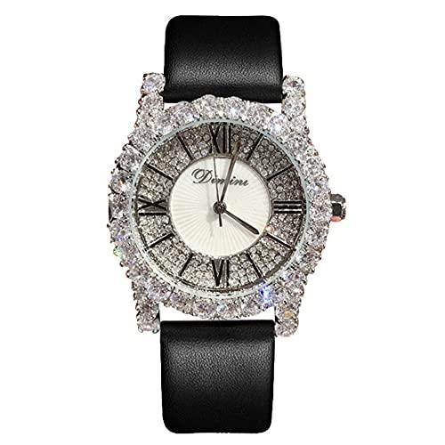 KLFJFD Reloj De Mujer Romano De Circonita Blanca Plateada A La Moda, Correa De Cuero con Personalidad, Reloj De Cuarzo Impermeable con Diamantes De Imitación A La Moda