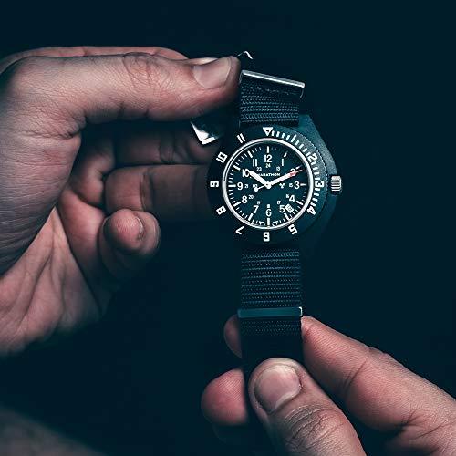 Marathon Navigator Swiss Made Military Issue Pilot's Watch with Date, Tritium, Sapphire Crystal, Steel Crown, Battery Hatch, ETAF06 Movement (41mm) (Black - No Government Markings)