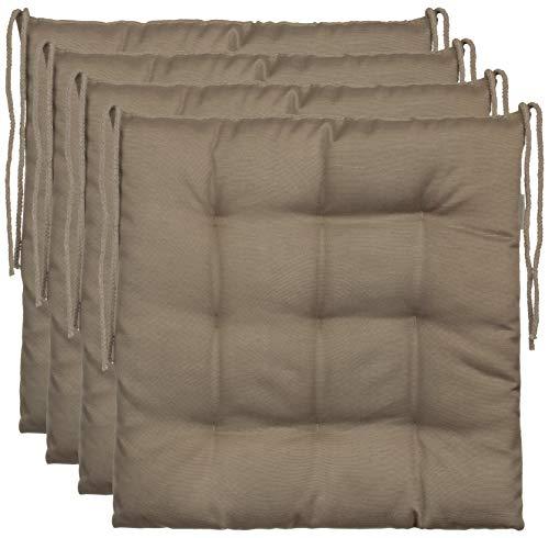 Brandsseller–Cojín decorativo de asiento para silla de jardín, 9 pespuntes, varios diseños, poliéster, pardo, 4er-Paket