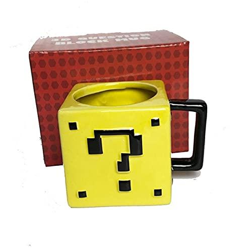 3d Creative Ceramic Mug Cartoon Game Super Mario Sewer Pixel Mushroom Question Mark Water Cup Cartoon Children's Birthday Gift - Yellow square